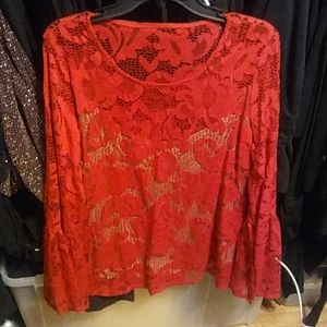 Inc red lace top size xl